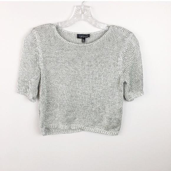 a2b1770fd2a0e Topshop silver metallic knit cropped top size 2. M 5b0c381761ca101008f20e5d
